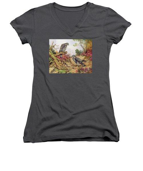 Honey Buzzards Women's V-Neck T-Shirt (Junior Cut) by Carl Donner