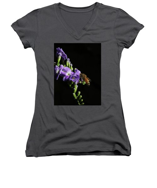 Women's V-Neck T-Shirt (Junior Cut) featuring the photograph Honeybee On Golden Dewdrop by Richard Rizzo