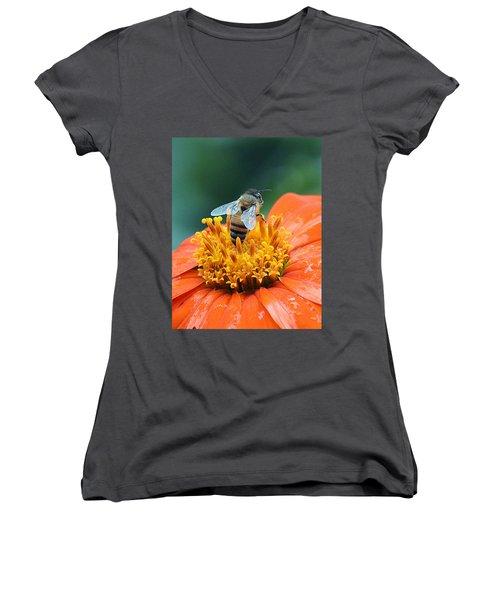Honeybee On Orange Flower Women's V-Neck (Athletic Fit)