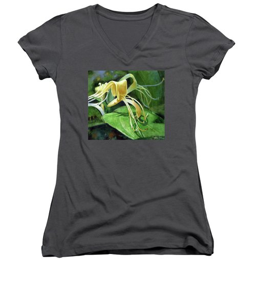 Women's V-Neck featuring the painting Honeysuckle Shade by Andrew King