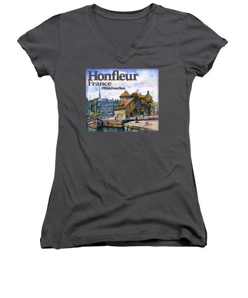 Honfleur France Shirt Women's V-Neck (Athletic Fit)