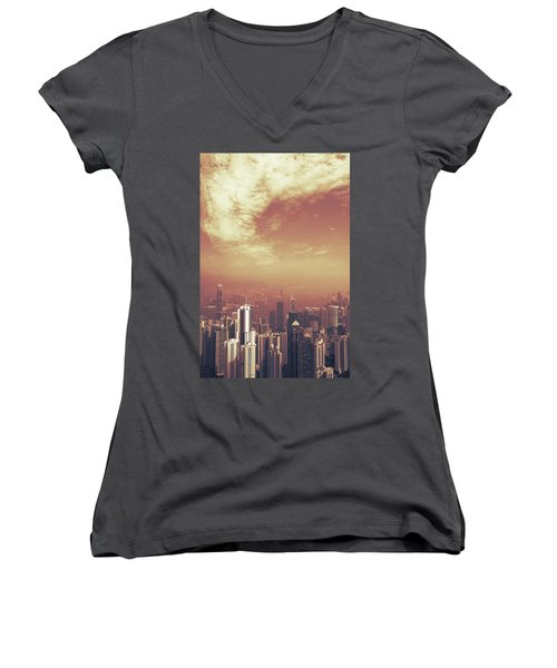 Women's V-Neck T-Shirt (Junior Cut) featuring the photograph Hong Kong Portrait by Joseph Westrupp