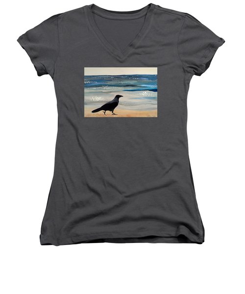 Hooded Crow At The Black Sea By Dora Hathazi Mendes Women's V-Neck T-Shirt (Junior Cut) by Dora Hathazi Mendes