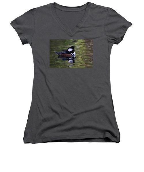 Hooded Merganser Duck Women's V-Neck (Athletic Fit)