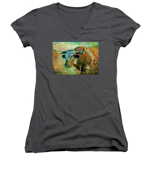 Women's V-Neck T-Shirt (Junior Cut) featuring the digital art Hook 'em 1 by Colleen Taylor