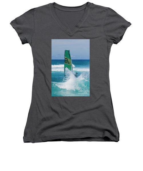 Women's V-Neck T-Shirt (Junior Cut) featuring the photograph Hookipa Windsurfing North Shore Maui Hawaii by Sharon Mau