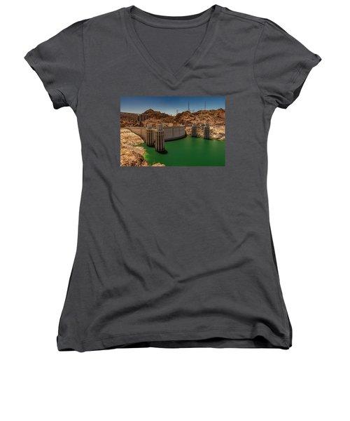 Hoover Dam Women's V-Neck T-Shirt (Junior Cut) by Ed Clark