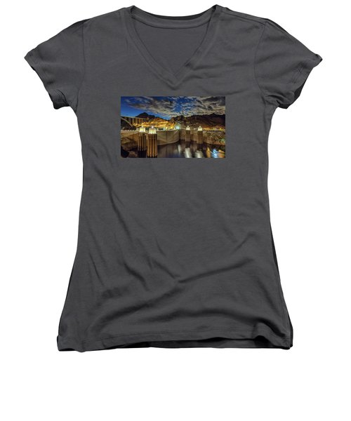 Women's V-Neck T-Shirt (Junior Cut) featuring the photograph Hoover Dam by Michael Rogers