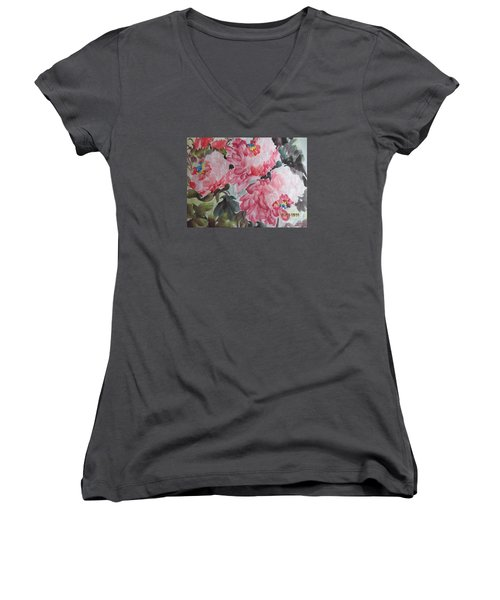 Women's V-Neck T-Shirt (Junior Cut) featuring the painting Hop08012015-695 by Dongling Sun