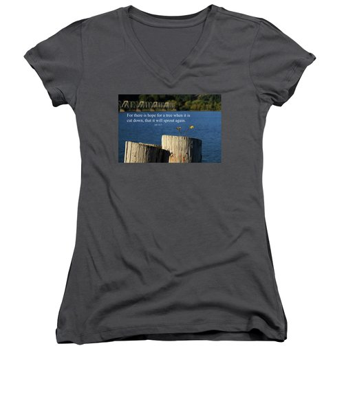 Hope For A Tree Women's V-Neck T-Shirt (Junior Cut) by James Eddy