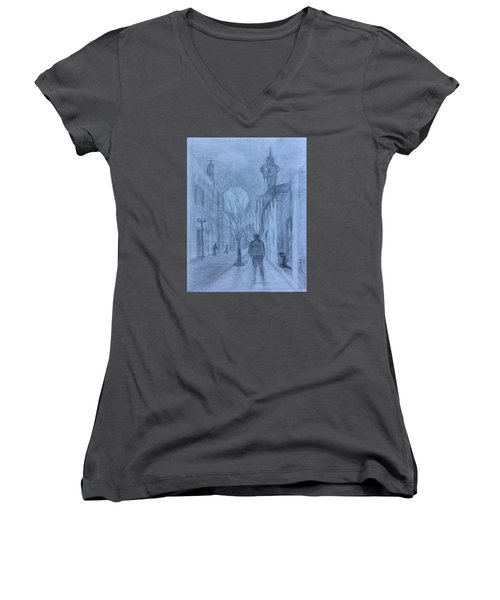 Women's V-Neck T-Shirt (Junior Cut) featuring the painting  Moon Of Hope by Laila Awad Jamaleldin