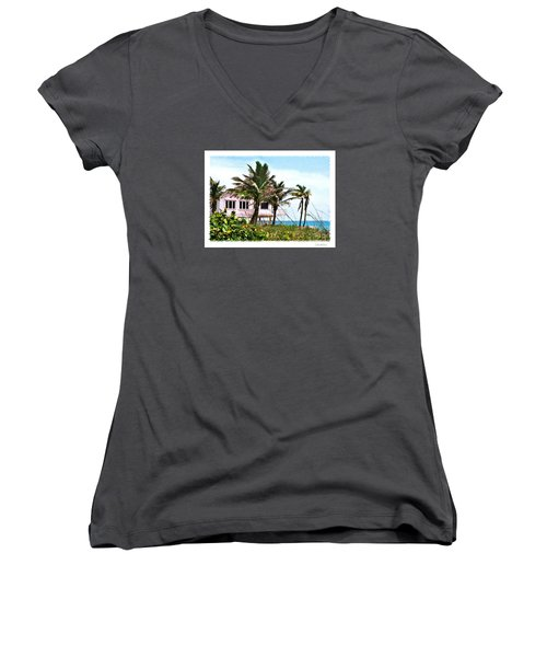Women's V-Neck T-Shirt (Junior Cut) featuring the photograph Hope Sound House by Linda Olsen