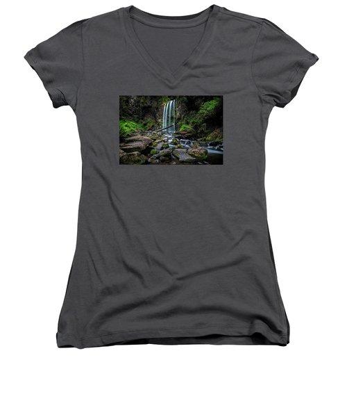 Hopetoun Falls Women's V-Neck T-Shirt (Junior Cut) by Mark Lucey