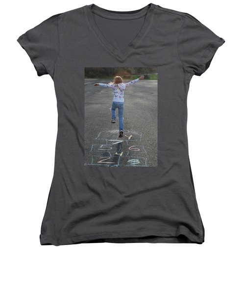 Women's V-Neck T-Shirt (Junior Cut) featuring the photograph Hopscotch Queen by Richard Bryce and Family