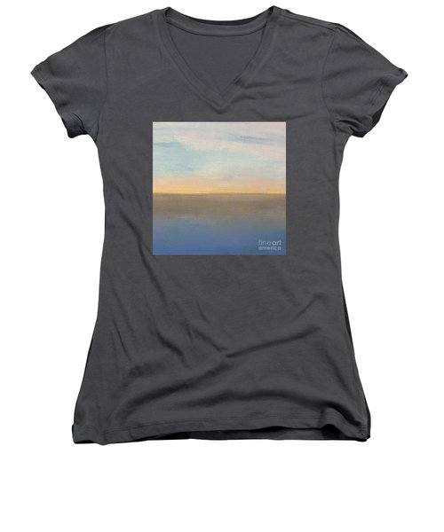 Women's V-Neck T-Shirt (Junior Cut) featuring the painting Horizon Aglow by Kim Nelson