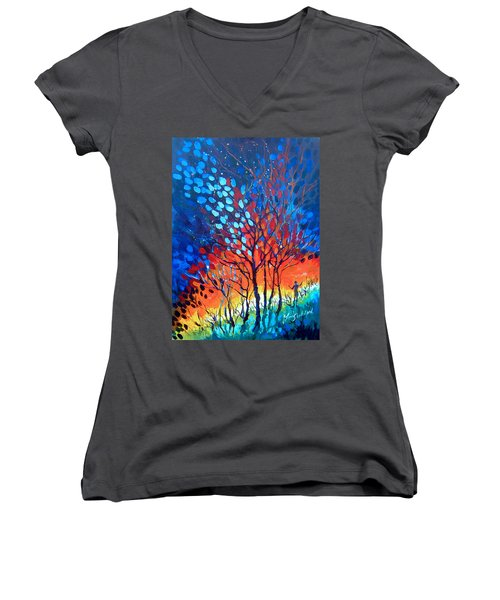 Women's V-Neck T-Shirt (Junior Cut) featuring the painting Horizons by Linda Shackelford
