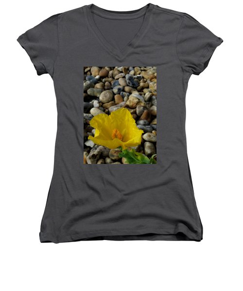 Horned Poppy And Pebbles Women's V-Neck (Athletic Fit)