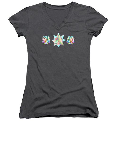 Horse Abstract Ribbon Bow Party Series Women's V-Neck (Athletic Fit)