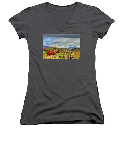 Women's V-Neck T-Shirt (Junior Cut) featuring the photograph Horse And Mountains by Scott Mahon