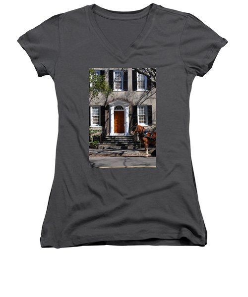 Horse Carriage In Charleston Women's V-Neck