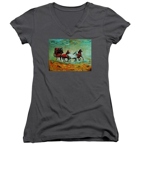 Horse Chariot Women's V-Neck T-Shirt (Junior Cut) by Khalid Saeed