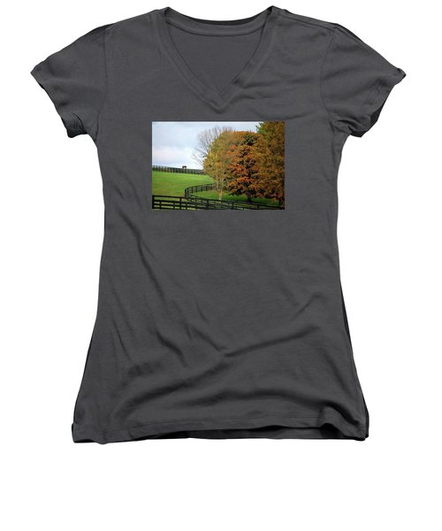 Horse Farm Country In The Fall Women's V-Neck T-Shirt (Junior Cut) by Sumoflam Photography