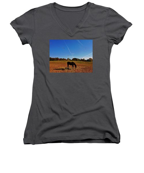 Horse Farm In The Fall Women's V-Neck T-Shirt (Junior Cut) by Ed Sweeney