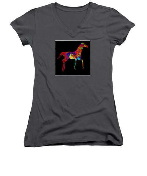 Women's V-Neck T-Shirt (Junior Cut) featuring the photograph Horse by James Bethanis