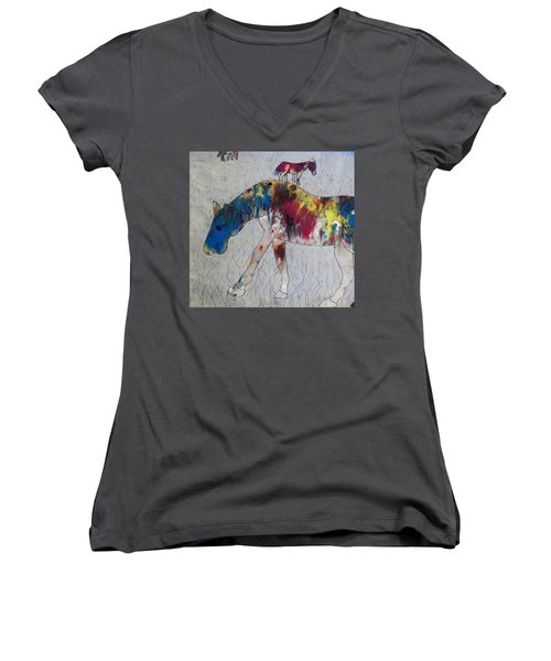 Horse Of A Different Color Women's V-Neck T-Shirt (Junior Cut) by Thomasina Durkay