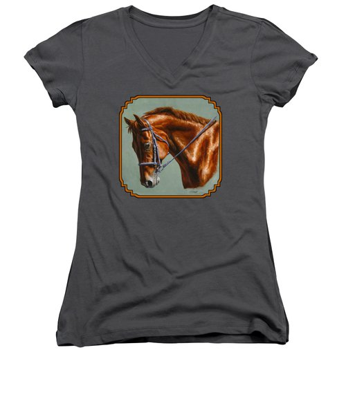 Horse Painting - Focus Women's V-Neck (Athletic Fit)