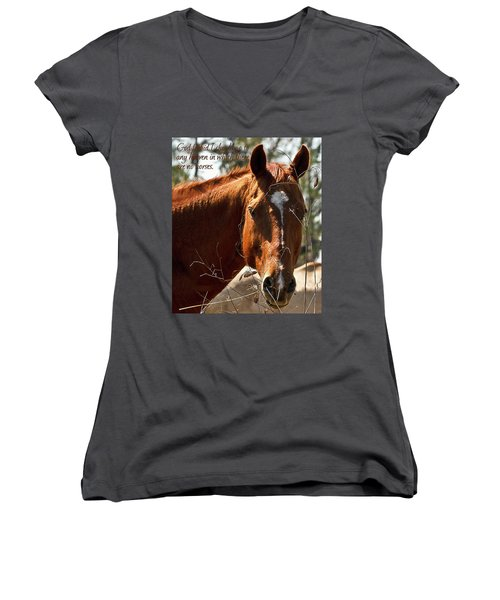 Horse Portrait Women's V-Neck (Athletic Fit)