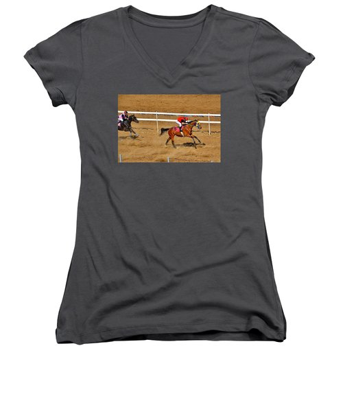 Horse Racing Women's V-Neck (Athletic Fit)