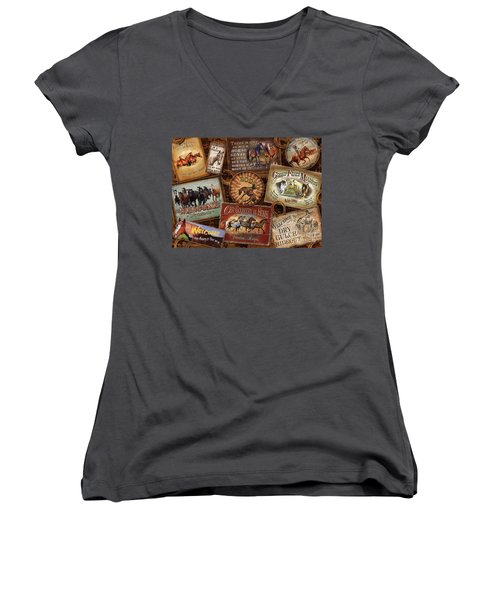 Horse Sign Collage Women's V-Neck T-Shirt (Junior Cut) by Michelle Grant Cynthie Fisher JQ Licensing