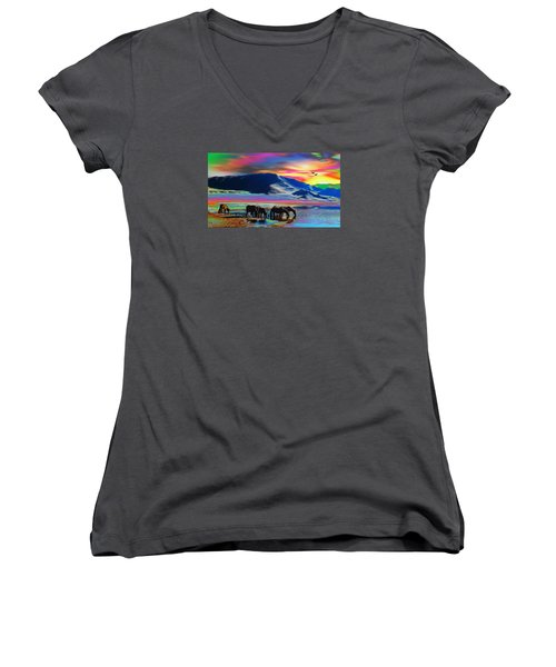 Horse Sunrise Women's V-Neck (Athletic Fit)