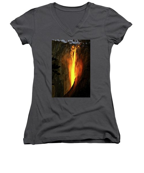 Horse Tail Fall Aglow Women's V-Neck T-Shirt (Junior Cut) by Greg Norrell