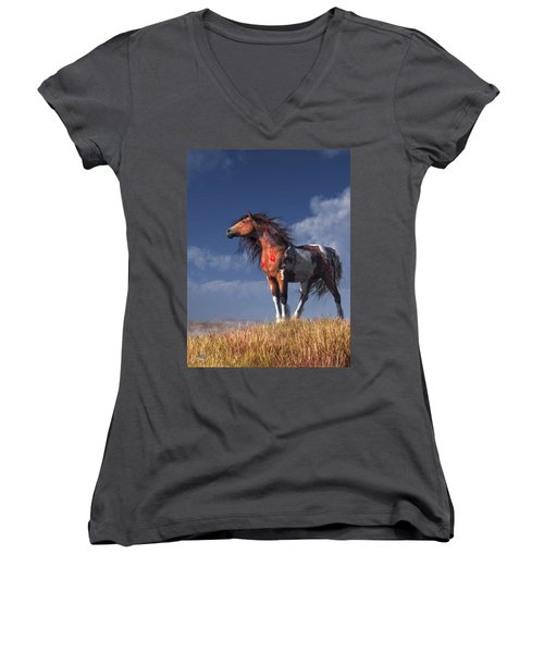 Horse With War Paint Women's V-Neck (Athletic Fit)