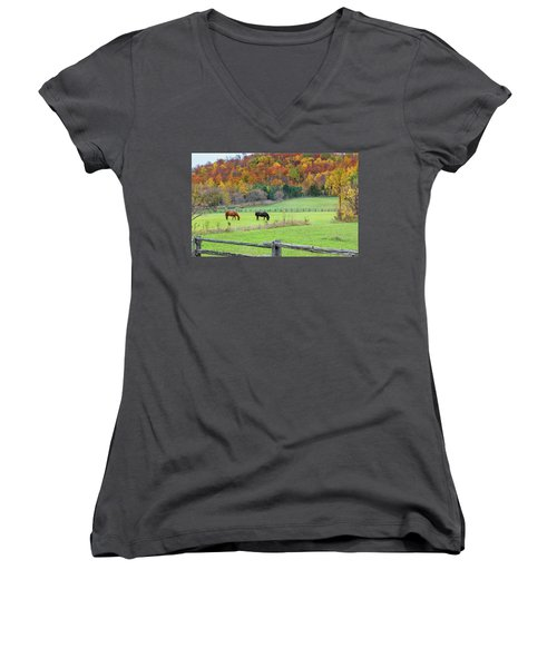 Horses Contentedly Grazing In Fall Pasture Women's V-Neck