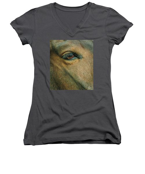 Horses Eye Women's V-Neck T-Shirt (Junior Cut) by Bruce Carpenter