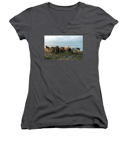 Women's V-Neck T-Shirt featuring the photograph Horses In Iceland by Dubi Roman