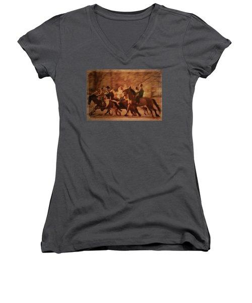 Horses In Motion  Women's V-Neck T-Shirt