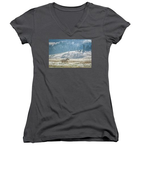 Horses In The Frost Women's V-Neck T-Shirt (Junior Cut) by Keith Boone