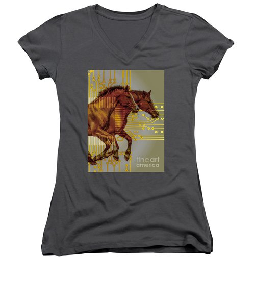 The Sound Of The Horses. Women's V-Neck T-Shirt (Junior Cut) by Moustafa Al Hatter