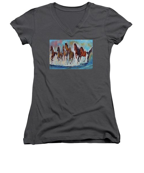 Horses Of Success Women's V-Neck