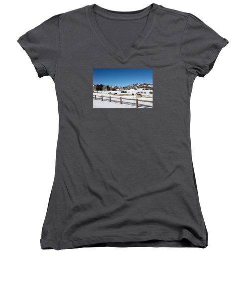 Horses On A Small Farm Near The Aspen Airport Women's V-Neck T-Shirt