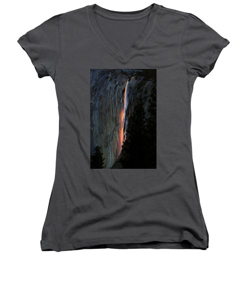 Horsetail Falls Aglow Women's V-Neck T-Shirt