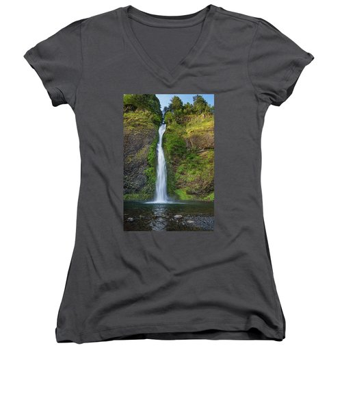 Women's V-Neck T-Shirt (Junior Cut) featuring the photograph Horsetail Falls In Spring by Greg Nyquist