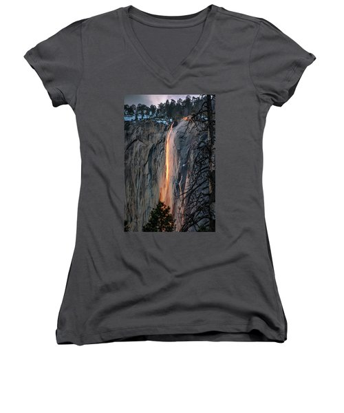 Horsetail Waterfall Glow 2017-2-24 Women's V-Neck T-Shirt