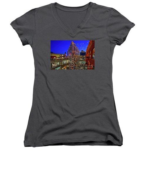 Horton Plaza Shopping Center Women's V-Neck T-Shirt (Junior Cut) by Sam Antonio Photography