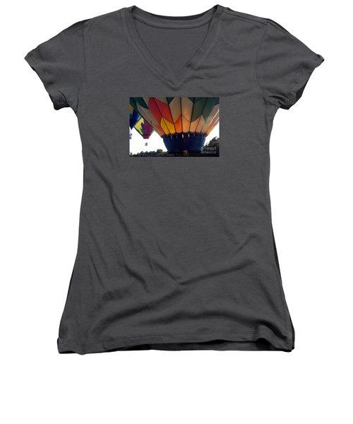 Women's V-Neck T-Shirt (Junior Cut) featuring the painting Hot Air Balloon by Debra Crank