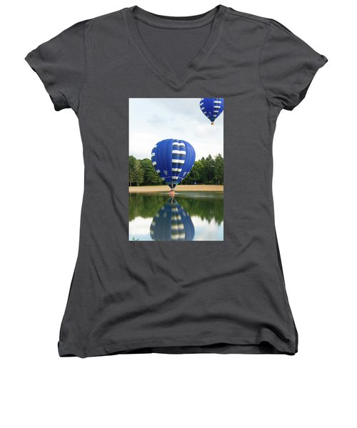 Women's V-Neck T-Shirt (Junior Cut) featuring the photograph Hot Air Balloon by Hans Engbers